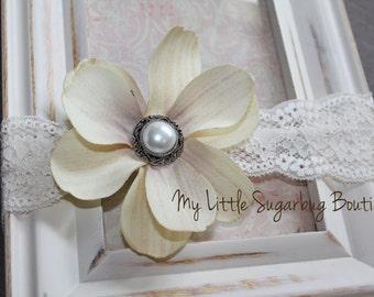 Flower Lace Headband-Ivory-Newborn-Baby-Toddler-Girls-Flower Girl-Photo Prop.