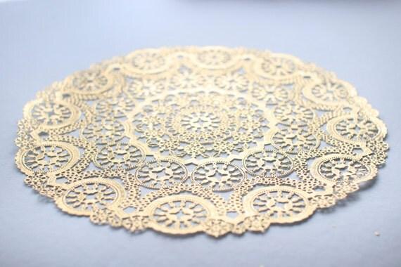 Metallic gold quot round medallion doilies foil lace