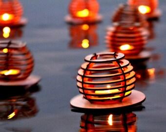 3pk Waterlilies, Wooden Floating Tea light Lanterns. Dancing lights across the water! DIY kit.