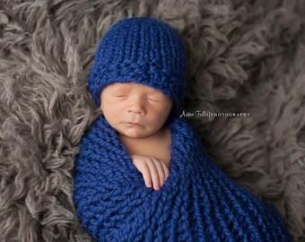 Newborn Baby Hat Knit Cobalt- Hydrangea Hat
