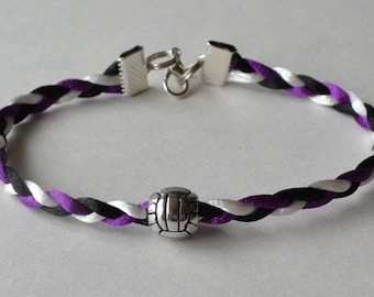Braided volleyball bracelet with satin nylon cord and metal volleyball bead