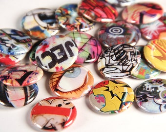 THREE Street Art Pinback Buttons