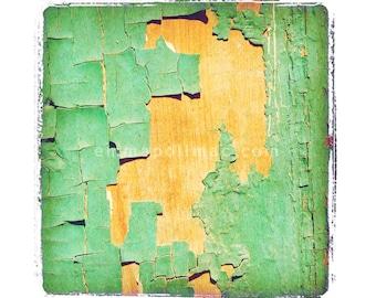 Vintage look photography: aged turquoise aqua peeling paint on textured wood. Shabby chic art, cottage decor, gently aged print.
