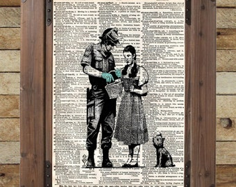 Banksy Dorothy not in Kansas anymore street art vintage dictionary page book art print