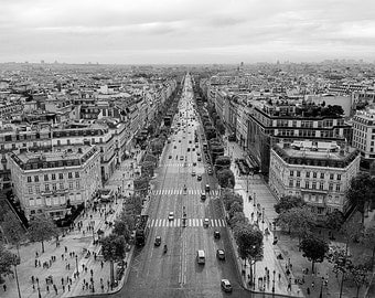 Champs Elysees, Paris, Black and White, Noir, France, Luxury, Shopping, Parisian Street - Travel Photography, Print, Wall Art