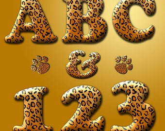 Digital Alphabet Leopard Print, Animal Print digital Alphabet Clipart, Printable Leopard Spots Letters + Numbers + Punctuation, Jaguar alpha