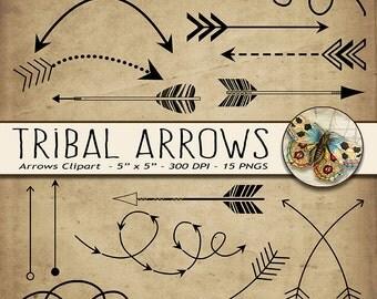 Tribal Arrows Clipart, arrow printables, arrow doodles, hand drawn arrow clipart, arrows for design, tribal clipart, fun arrows