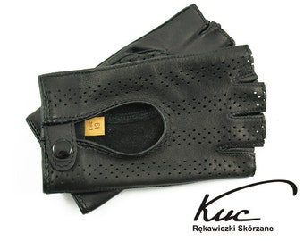 Black fingerless leather gloves,  driving gloves- perforated italian lambskin leather