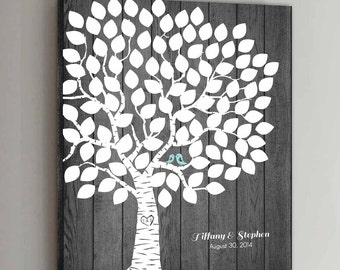 CANVAS Wedding Guest Book Rustic Wood - 100 Guests - Wedding Tree Wedding Guestbook Alternative Guestbook Wedding Guestbook Poster - Wood