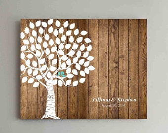 75 Guest Wedding Guest Book Wedding Tree Wedding Guestbook Alternative Guestbook Poster Wedding Guestbook Poster - Wood Design