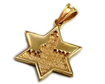 Jerusalem 14k Gold Star of David Pendant