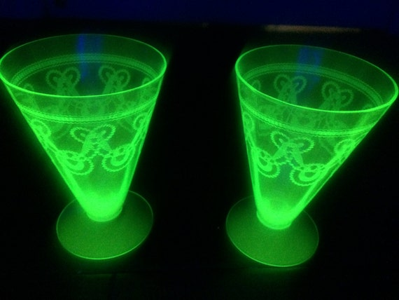 Items similar to green depression glass rare tumblers for Most valuable depression glass patterns
