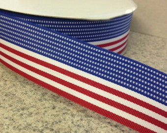 "1.5"" Patriotic Stripe Ribbon - Red, White & Blue - American Flag -Fourth of July - 100% Polyester -Made in USA"