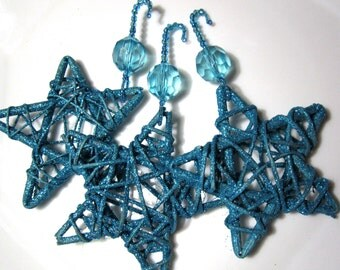 Turquoise Blue Glitter Willow Star Christmas Ornaments on Fancy Beaded Hangers - 3 Christmas Tree Decorations