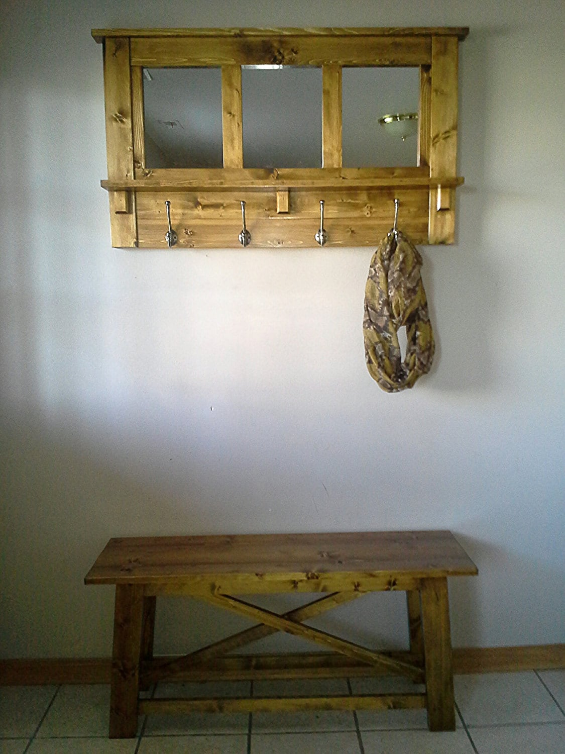 Rustic Foyer Mirror : Rustic entryway set decor coat rack and mirror