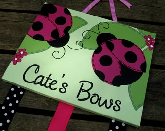 Ladybug BowHolder- 11x14 Canvas Wall Hanging Bow Holder