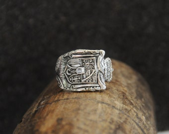 liechtenstein ring, crested ring, german ring, european ring, spoon ring, silver plate ring