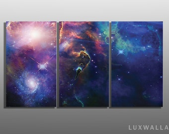 Nebula Space Triptych Metal Wall Art Ready to Hang
