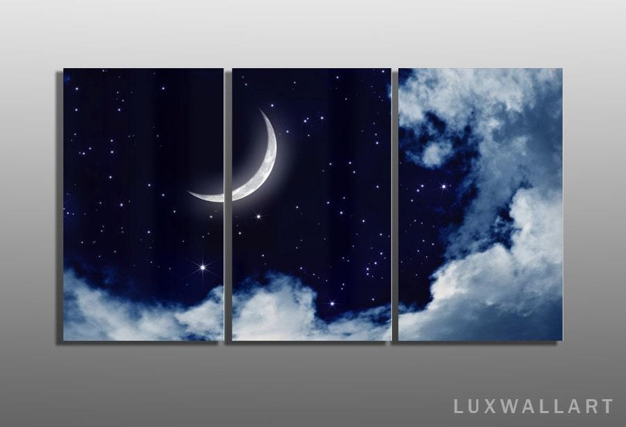 moon multi panel metal wall art ready to hang framed by luxwallart