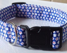 Blue Dog and Cat Collar with Small White Flowers