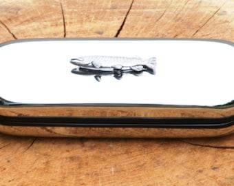 Pike Metal Pen Case & Ball Point Set Fishing Gift FREE ENGRAVING