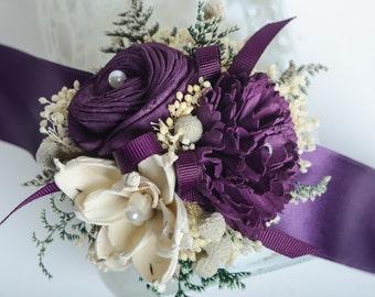 Purple, Pantone Sola FlowerWrist Corsage, Mother Corsage, Keepsake Wrist Corsage.