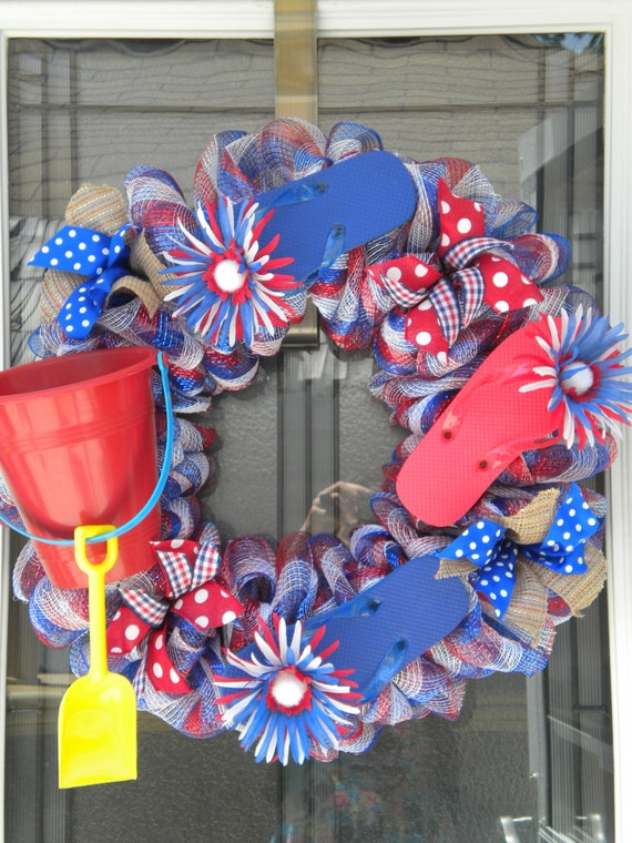 Items Similar To Wreath With Flip Flops Patriotic Red White And Blue Polka Dot Checked Ribbon