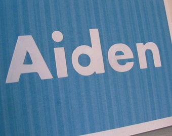 Aiden Name Card, Personalized Name Card, Name Birthday Card, Male Card, Blue and White Card
