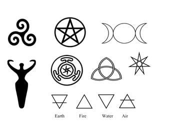 Pagan Symbols, Body Art, Goddess Symbol, Wiccan Symbols, Sacred Symbols, Wickedly Lovely Skin Art TemporaryTattoo