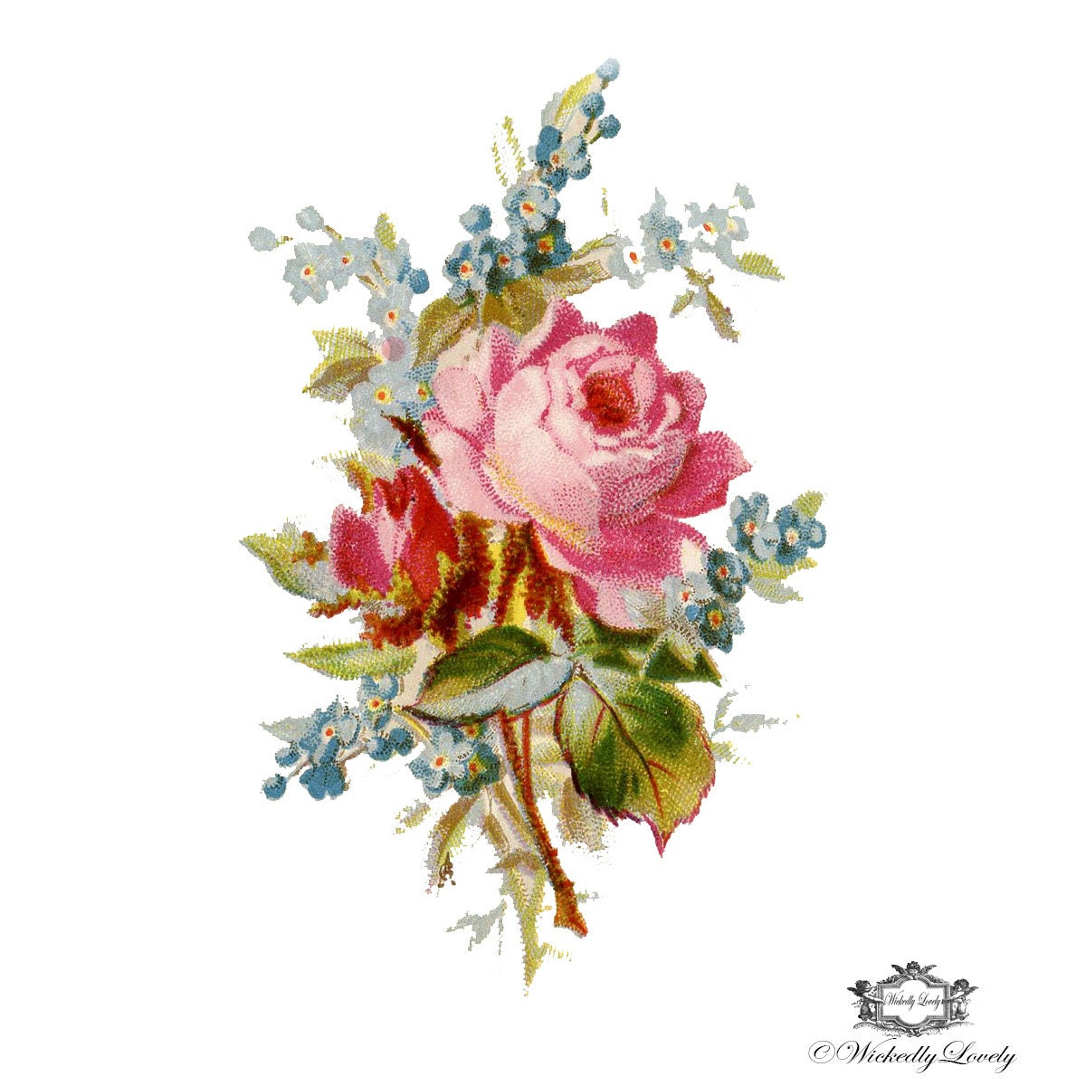 Vintage Rose and forget me knot Posy Rose tattoo Floral