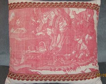 "18th Century Beautiran Toile Pillow - Cushion - ""La Danse Savoyarde"""
