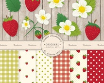 Premium Strawberry Clip Art & Strawberry Digital Papers Set - Strawberry Clipart, Strawberries, Strawberry Flowers, Strawberry Vectors