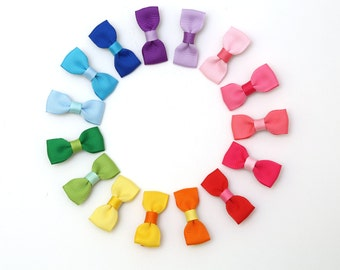 Baby Hair Clips-Dual-Color bow hair clip set for girls/ toddlers Handmade