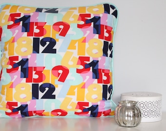 Numbers cushion cover with mint piping and blue back - 45cm x 45cm