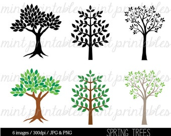 Tree Clipart, Tree Clip Art, Tree Silhouette Clipart Clip Art, Spring Tree Clipart, Family Tree - Commercial & Personal - BUY 2 GET 1 FREE!