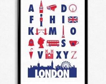 London Alphabet City Print - Red, White & Blue