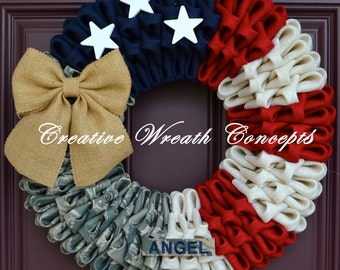 Military Wreath with Name Tape