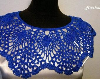 Handmade Crochet Collar, Neck Accessory, Blue