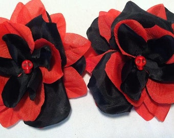 Black and Red Skull Flower Hair Clips, Set of 2