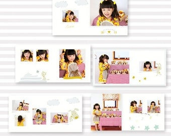 10x10 20 pages cutcartoon album template for photographer