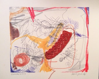 Small knitted blind drawing