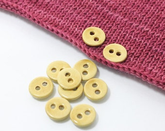 """10 Small Wheat Yellow Ceramic Buttons (18 mm / 0.7"""")"""