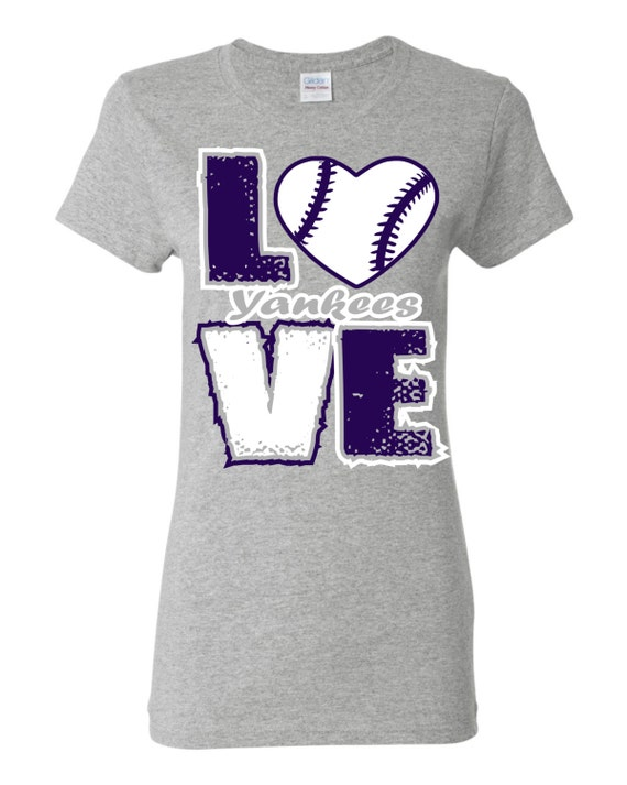Love yankees baseball screen printed t shirt free shipping for Custom t shirt store near me