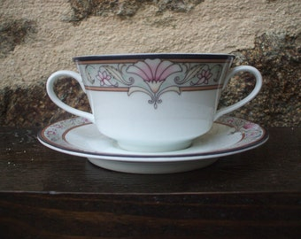 Vintage Schmidt porcelaine  tea Cup and Saucer Set x 6