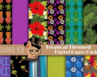 Tropical Night Digital Paper Pack for Scrap-booking and Paper Craft