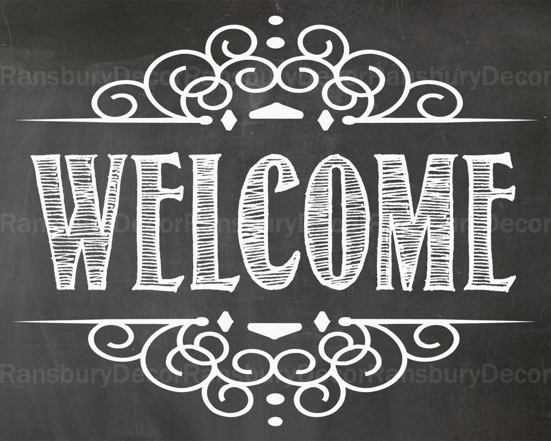 welcome chalkboard sign digital chalkboard sign by. Black Bedroom Furniture Sets. Home Design Ideas