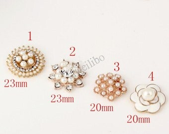 3 pcs Pearl Rhinestone Flower Button For Diy Jewelry Accessories
