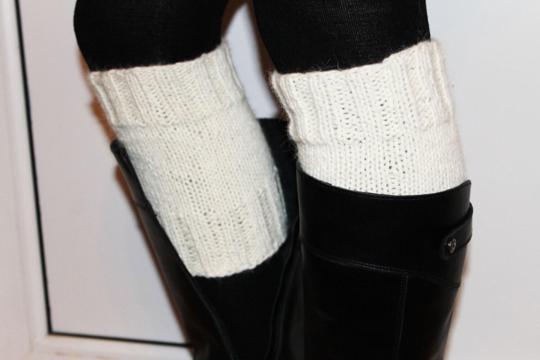 Knit White Leg Warmers Boot Cuffs By Evijasshop On Etsy
