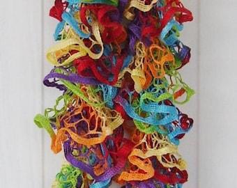 Crochet Ruffle Scarf, Fly a Kite, Rainbow, Fashionable, Spring, Trendy, Lightweight, Accessories, Sashay/ Starbella Yarn