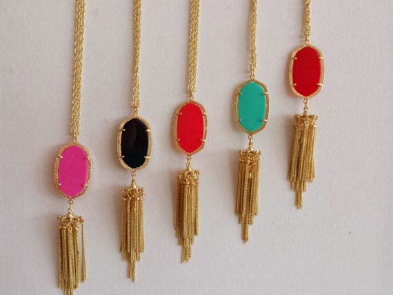 Designer Inspired Gem and Tassel necklace